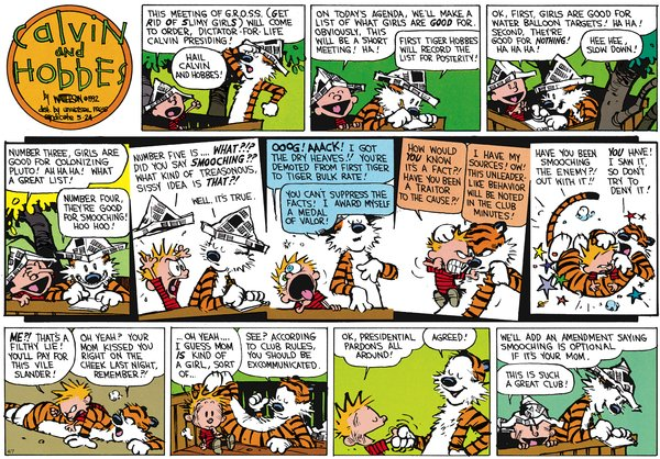 Calvin and Hobbes - Smooching with the enemy
