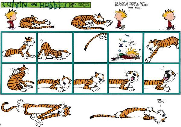 Calvin and Hobbes - Conscious sleep