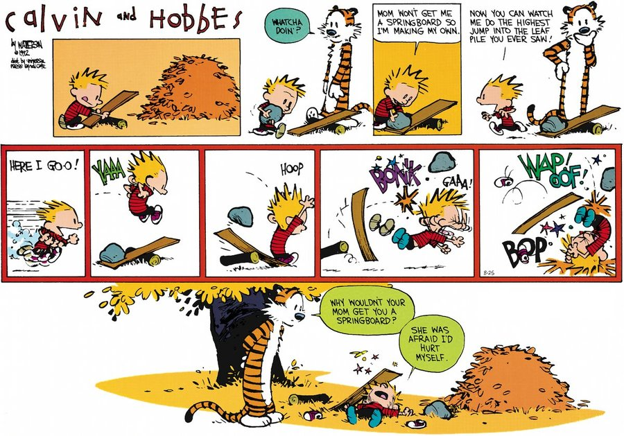 calvin and hobbs comic strip ethical Bill watterson's calvin and hobbes was one of the most popular comic strips of modern times this month, all 3,160 published strips have been brought together, from beginning to end — a massive, three-volume collection.